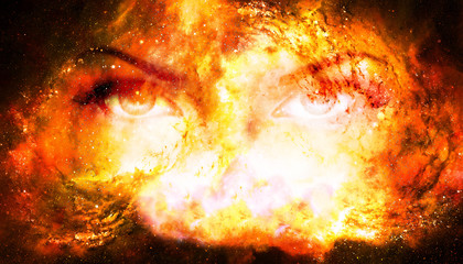 Woman eyes in cosmic background. Eye contact. Fire effect.
