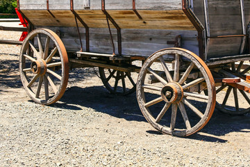 Close up of old wooden wagon in Los Olivos, CA, USA