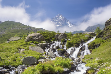 The first waterfalls of the great river Po' under the Monviso, Crissolo, Po' Valley, Cuneo District, Piedmont, Italy.