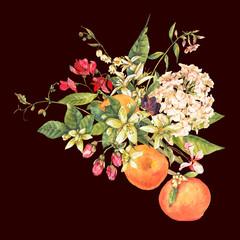 Watercolor blooming orange twig with flowers