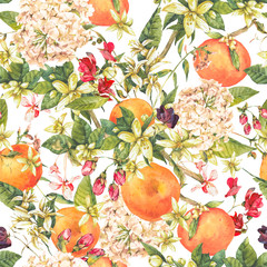 Watercolor floral seamless pattern with orange twig, summer flow
