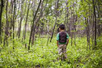 Back view of boy standing in forest