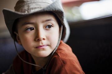 Portrait of boy wearing cowboy hat