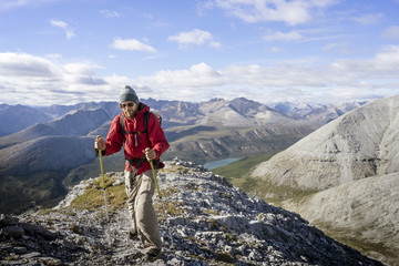 Male hiker Stone Mountain British Columbia in Northern Rockies