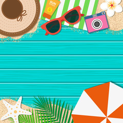 Summer holiday background. Season vacation, weekend. Vector Illustration.
