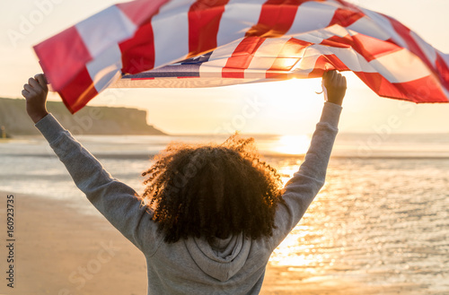 Quot Mixed Race African American Girl Teenager With Us Flag