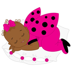 Vector African American Cute Baby Girl in Ladybug Costume Sleeping on the Pillow.