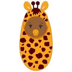 Vector African American Cute Baby in Giraffe Costume.