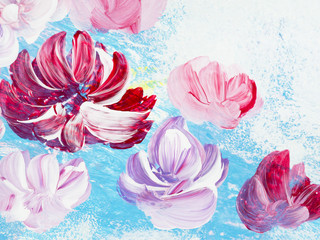 Abstract flowers of acrylic painting on canvas. Creative abstract hand painted background