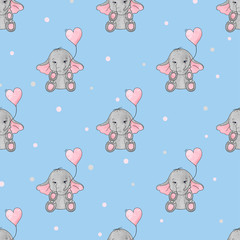 Seamless pattern with cute elephants and heart balloons. Vector background for kids design. Baby print.