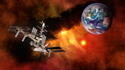 Space shuttle ship satellite spaceship spacecraft planet Earth international station. Elements of this image furnished by NASA.