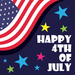 american independence day 4th of July poster, red blue white flag. vector illustration