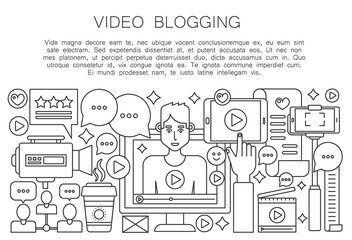 Video blogger thin line concept. Computer screen with male man blogger. Personal blogging channel broadcasting outline stroke vector illustration.