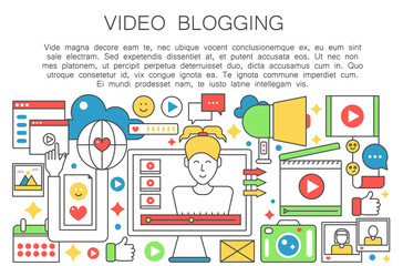 Video blogger flat line concept. Computer screen with female woman blogger. Personal blogging channel broadcasting. Thin outline stroke web template vector illustration.