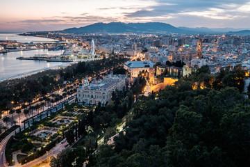 Malaga cityscape during sunset