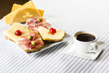 cheese and ham for breakfast and coffee