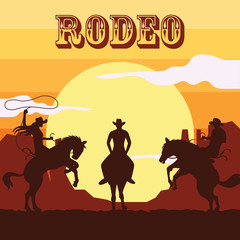 rodeo poster with cowboy and cowgirls silhouette riding on wild horse and bull. vector illustration