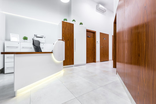 Reception of modern, private clinic