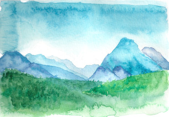 Hand drawn watercolor illustration. Landscape with mountains; forest; sky. Template for design