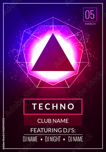 u0026quot techno music poster  electronic club deep music  musical