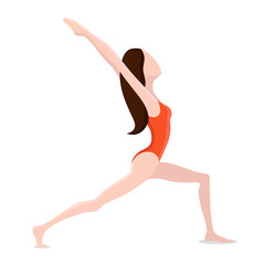 girl performs stretching exercises vector illustration.