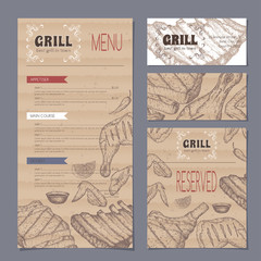 Vintage grill restaurant menu and stationery cards template with hand drawn sketch