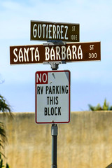 Interesection signpost for Santa Barbara St and Gutierrez St in downtown Santa Barbara CA, USA