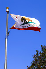 The California State Flag flying over St. Paula, CA, USA