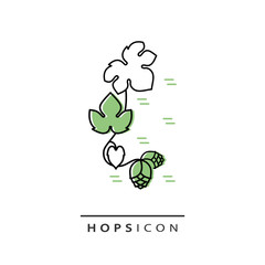 Inflorescence of hops. Linear style. Vector icon.
