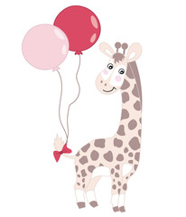 Vector Cute Baby Giraffe with Balloons.