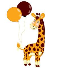 Vector Cute Baby Giraffe with Balloons.