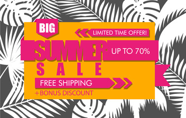 Summer sale banner with white tropical exotic palm leaves and plant on orange background. Vector bright floral design pink text big, limited time offer, free shipping, bonus discount, up to 70 percent