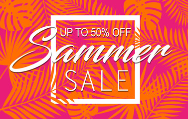 Summer sale banner with tropical exotic palm leaves and plant orange and pink bright vivid color background with white square frame. Vector floral design with text up to 50 percent off