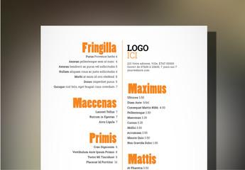 Modèle de menu de restaurant à tapas