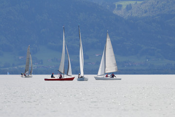 Sailing boats on lake chiemsee near Seebruck