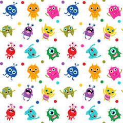 Cute seamless pattern with colorful bright vector monsters for baby shower invitations, textile and clothing for kids