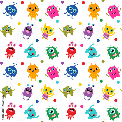 cute seamless pattern with colorful bright vector monsters for baby