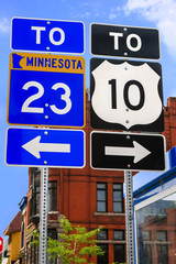 Two road signs, in ST. Cloud, Minnesota USA