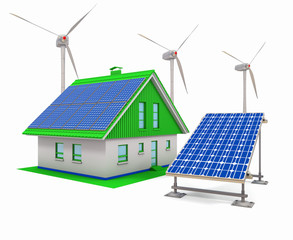 House with electric solar panels and wind turbines