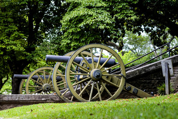 Civil War Cannons outside the Old Courthouse building in Vicksburg MS, USA