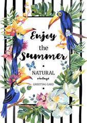 Greeting card with toucan, butterflies, exotic flowers and leave