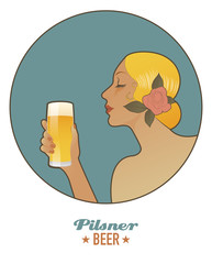 Woman holding a glass of beer. Pilsen. Vintage style.