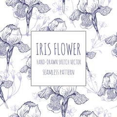 Iris flower. Hand-drawn vector Vector seamless pattern