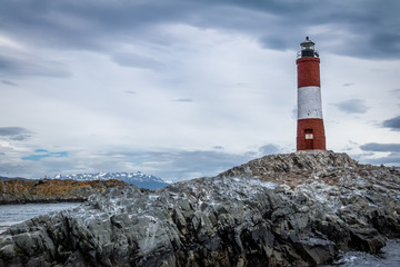 Les Eclaireurs Red and white lighthouse - Beagle Channel, Ushuaia, Argentina
