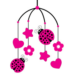 Vector Baby Carousel with Ladybug, starts and hearts.