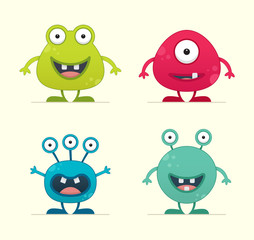 Cute Creature Set - vector illustration