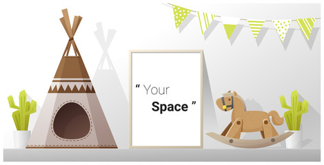 Interior poster mock up frame in child room , vector , illustration