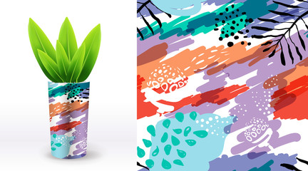 A set of summer seamless unique floral patterns, demonstrated on textile ceramic pot. Can be used for embroidery, print or silkscreen on fabric.