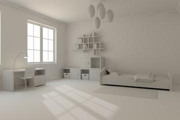 White children room. Scandinavian interior design. 3D illustration