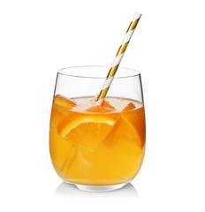 Fototapete - Tasty refreshing lemonade with orange in glass on white background